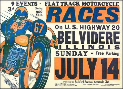 Belvidere US Flat Track Races Vintage Poster T-Shirt. 12 Sizes. Motorbike Gift